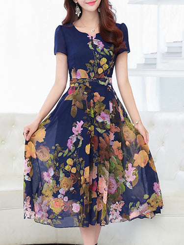 Split Neck Floral Printed Midi Chiffon Skater Dress