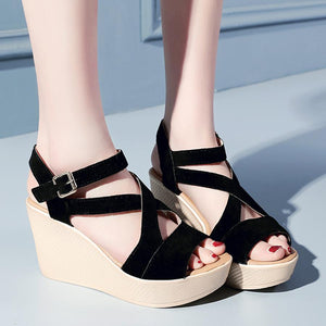 Plain  High Heeled  Velvet  Ankle Strap  Peep Toe  Casual Date Pumps
