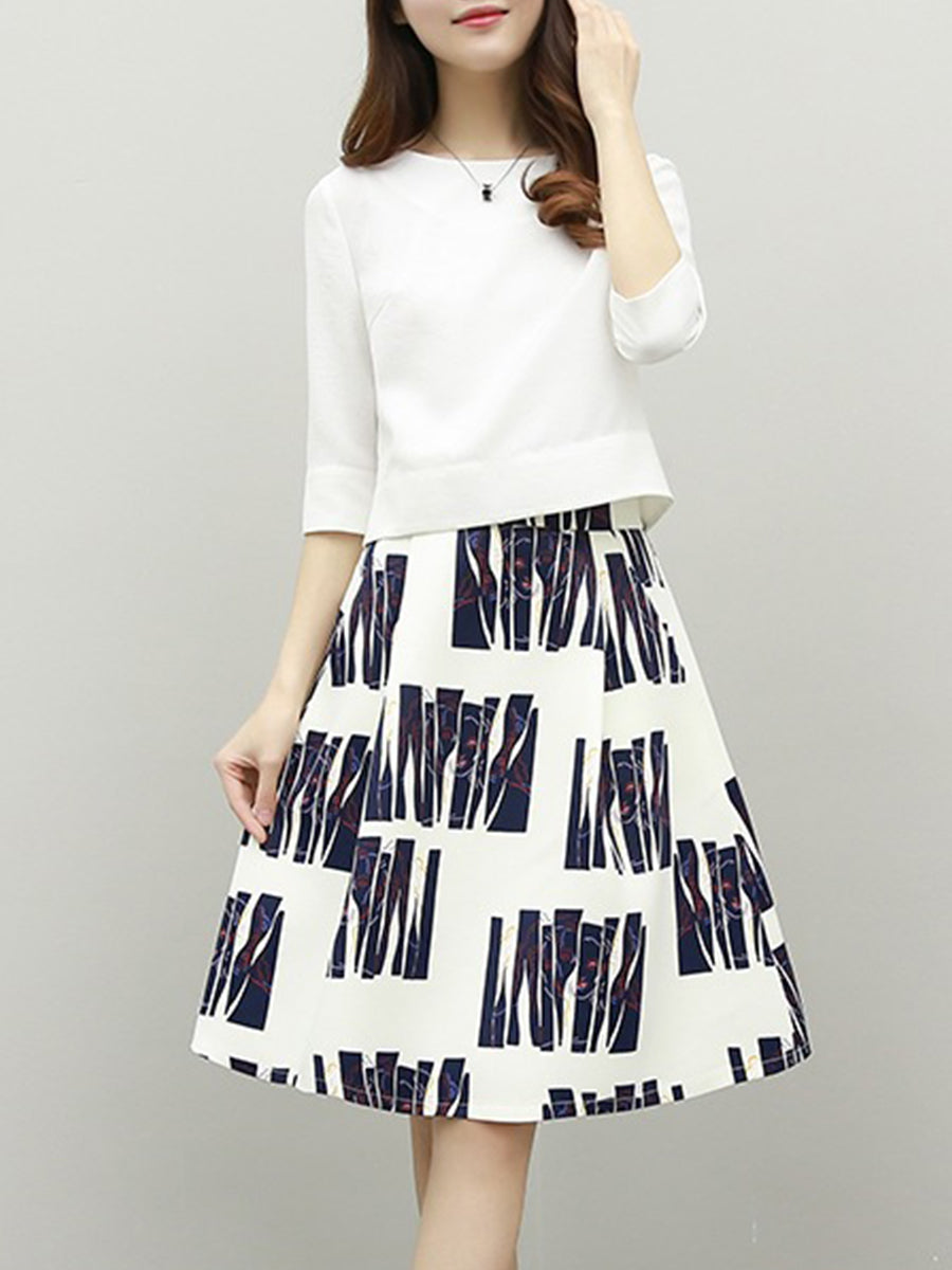 Round Neck  Printed  Two-Piece Skater Dress