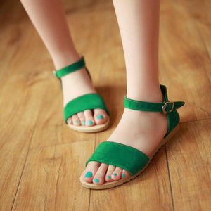 Casual Pure Color Buckle Sandals