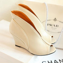 Roman Style Pure Color Fish Mouth High Heel Shoes