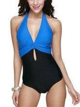 Deep V-Neck  Plain One Piece
