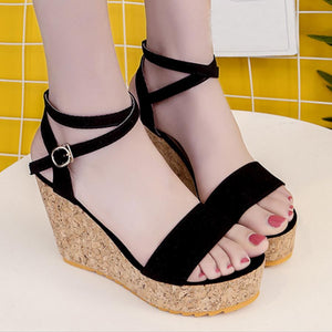 Plain  High Heeled  Velvet  Ankle Strap  Peep Toe  Date Sandals