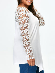 Round Neck  Hollow Out Lace Plain  Long Sleeve Plus Size T-Shirts