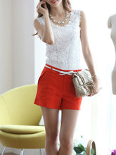 Spring Summer  Cotton  Women  Round Neck  Lace  Sleeveless Blouses