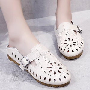 Hollow Out Plain  Flat  Round Toe  Casual Date Flat & Loafers