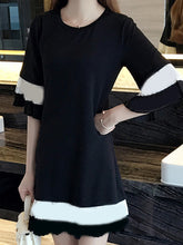 Round Neck  Patch Pocket  Color Block  Bell Sleeve Shift Dress
