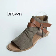 Denim Cloth Adjustable Buckle Sandals Woman Shoes