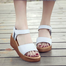 Slip On Double Band Wedges Sandals Woman Shoes