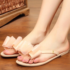 Plain  Flat  Peep Toe  Casual Slippers