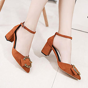 Fashion Pure Color Buckle High Heel Sandals