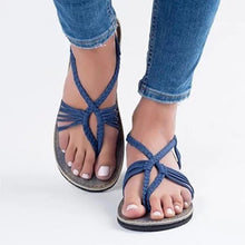 Large Size Braided Flat Heel Holiday Sandals Woman Shoes