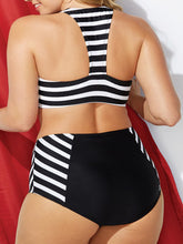 Zips  Striped Plus Size Swimwear