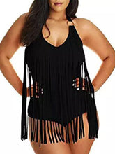Tie Collar  Fringe  Plain Plus Size One Piece