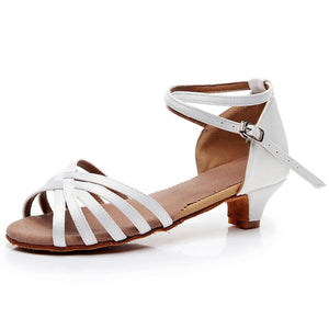 Plain  Chunky  Low Heeled  Satin  Ankle Strap  Peep Toe  Date Sandals