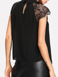 Summer  Polyester  Women  Turn Down Collar  Decorative Lace  Plain  Extra Short Sleeve Blouses