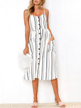 Spaghetti Strap Vertical Striped Patch Pocket Skater Dress