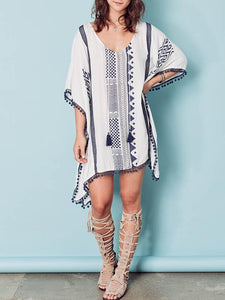 Lacy Pompom Loose Cover-Up Top