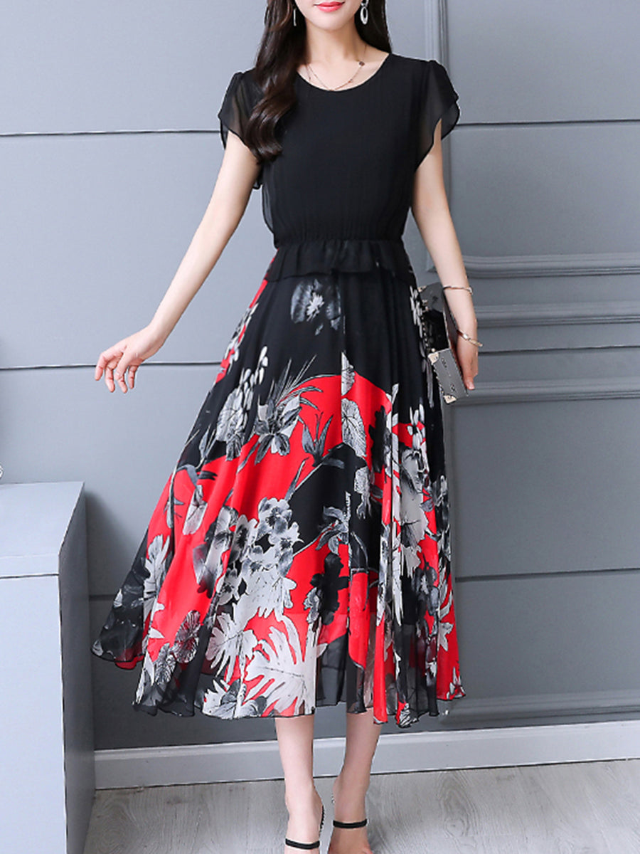 Round Neck  Flounce  Floral Printed Maxi Dress