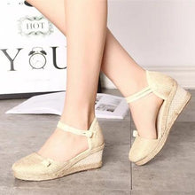 Linen Button Strap Wedge Heel Sandals