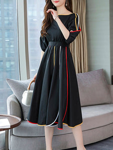 Round Neck  Contrast Trim  Color Block Maxi Dress