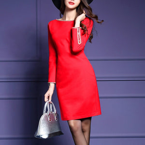 Black And Red Round Neck Plain Blend Bodycon Dress