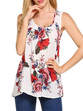 Summer  Polyester  Women  Round Neck  Floral Printed Sleeveless T-Shirts