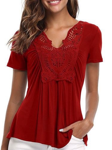 Summer  Blend  Women  V-Neck  Decorative Lace  Plain Short Sleeve T-Shirts