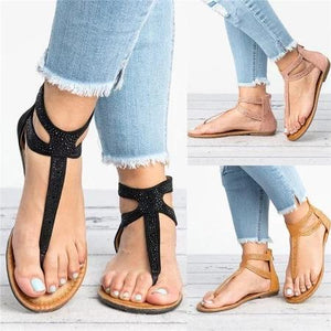 Plus Size Rhinestone PU Zipper Sandals