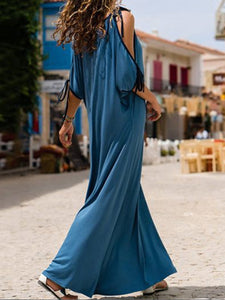 Spaghetti Strap  Contrast Trim  Plain Maxi Dress