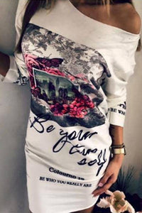 One Shoulder  Letters Printed  Long Sleeve Bodycon Dresses