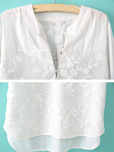 Band Collar  Embroidered  Embroidery Patchwork Plain Blouses