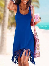 Round Neck  Fringe  Plain Shift Dress
