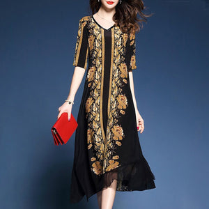 Elegent Shift Black Woman Long Dress
