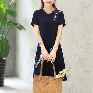 Flower Prited Cotton Linen Shift Dress