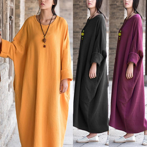 Long Sleeve Plus  Solid Maxi Dress