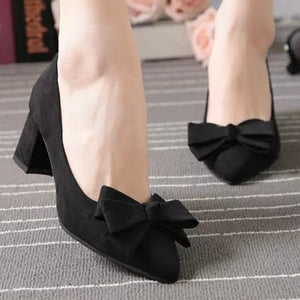 Plain  Chunky  High Heeled  Velvet  Point Toe  Date Office Pumps