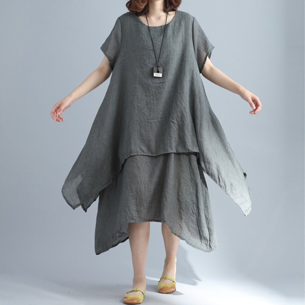 Cotton And Linen Three Colors Shift Woman Dress