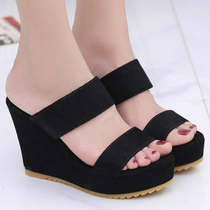 Plain  High Heeled  Velvet  Peep Toe  Casual Date Peep-Toe Wedges