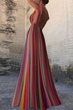 Sexy New Backless Rainbow Stripe Maxi Dress