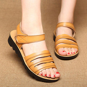 Plain  Mid Heeled  Faux Leather  Ankle Strap  Peep Toe  Casual Wedge Sandals