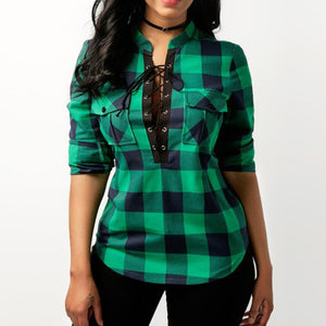Grid More Colors Long Sleeve Blouses