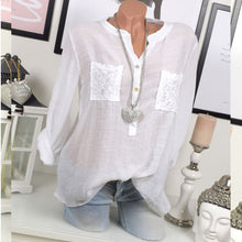 Long Sleeve V Neck With Lace Pocket Pure Blouses