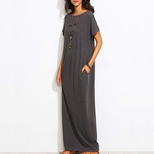 Casual Short Sleeved Maxi Dresses