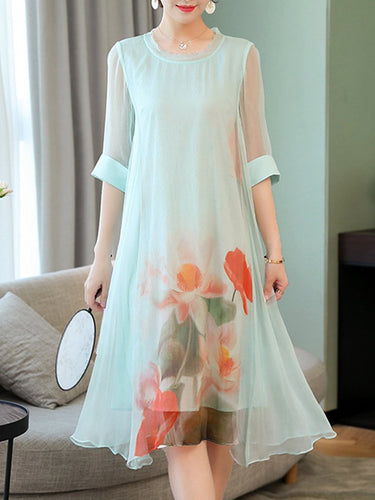 Round Neck  Asymmetric Hem Patchwork  Floral Printed Maxi Dress