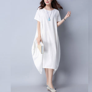 Pure Loose Cotton And Linen Summer Shift Dress