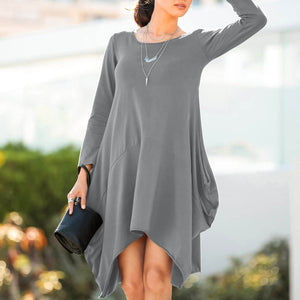 New Pure Round Neck With Pocket Shift Dress