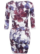 Round Neck  Floral Printed Plus Size Bodycon Dresses