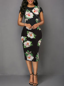 Round Neck  Floral Bodycon Flower Dress