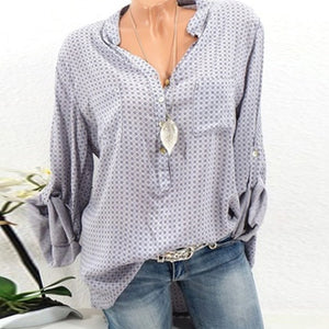Woman Long Sleeve V Neck Blouses
